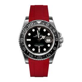 ラバーB【RUBBERB】ROLEX GMTマスターIIセラミック専用ラバーベルト 色:レッド【尾錠付き】※時計は付属しません