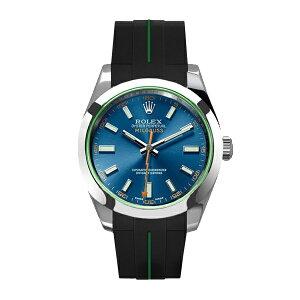ラバーB【RUBBERB】ROLEXミルガウス専用ラバーベルト 色:ブラック×グリーン【ROLEX純正バックルを使用】※時計、バックルは付属しません