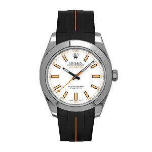 ラバーB【RUBBERB】ROLEXミルガウス専用ラバーベルト 色:ブラック×オレンジ【ROLEX純正バックルを使用】※時計、バックルは付属しません