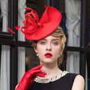 【ヘッドドレス】フェザーくるくるリボン付きカチューシャヘッドドレス♪レッド赤ハットレディースヘッドドレスヘアアクセヘッドアクセ髪飾り結婚式【GLITTERDRESS】【グリッタードレス】