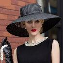 【ストローハット】リボン付き女優ストローハット♪ブラック黒麦わら帽子ハットレディース女優帽ヘッドドレスヘアアクセヘッドアクセ髪飾り結婚式【GLITTERDRESS】【グリッタードレス】