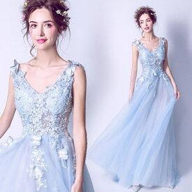8e92b71b02abd  ANGEL ノースリーブバタフライパールスパンコール肌透けチュール背中編上げトレーンAラインロングドレス 送料無料 高品質 ブルー 水色 ロングドレス  パーティー ...
