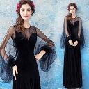 【ANGEL】長袖肌透けチュールレースバルーンスリーブAラインロングドレス【送料無料】高品質 ブラック 黒 ロングド…