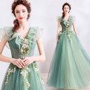 【ANGEL】ノースリーブ肌透けチュールフラワーフリル背中編上げAラインロングドレス【送料無料】高品質 グリーン 緑…