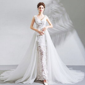 【ANGEL】ノースリーブ肌透けチュールレースパール背中編上げトレーンAラインロングドレス【送料無料】高品質 ホワイト 白 ウエディングドレス ウェディングドレス【GLITTER DRESS】【グリッタードレス】