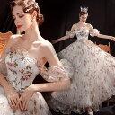ANGEL 花柄 ベアトップ フリル 袖付き 背中編上げ Aライン ロングドレス ホワイト 白 ロング ドレス パーティードレス