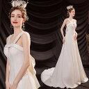 ANGEL キャミソール パール リボン 背中編上げ トレーン Aライン ロングドレス ホワイト 白 ロング ドレス パーティー…