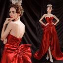 ANGEL ベアトップ サテン リボン 背中編上げ トレーン Aライン ロングドレス レッド 赤 ロング ドレス パーティードレス