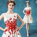 ANGEL ノースリーブ フラワー レース 背中編上げ Aライン ミニドレス ホワイト 白 ウエディングドレス ミモレ ドレス …