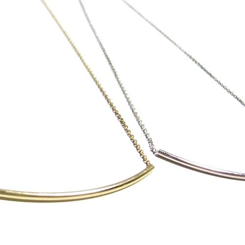 シルバー925 シンプルバーチェーンネックレス Sterling Silver Curved Line Bar Necklace ・*★by boeバイボー好きにも♪★*・シック&モダンな流れる美しい細ライン♪抜群のシンプルデザインでこなれ感急上昇↑↑♪