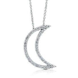 【送料無料】【あす楽対応】【楽ギフ_包装選択】シルバー925 高級CZダイヤ(キュービックジルコニア)【0.23ct.tw】三日月形 カットアウトムーン スパークリングペンダントネックレス Sterling Silver Dazzling CZ Crescent Moon Pendant Necklace