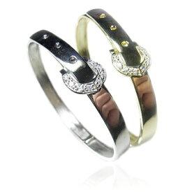 【送料無料】【あす楽対応】【楽ギフ_包装選択】シルバー925 CZダイヤ(キュービックジルコニア) 8ストーンアクセント【0.1ct.tw】ホースシュー馬蹄バックル&ベルトバングルブレスレット Sterling Silver Gold Vermeil CZ Equestrian Belt Bangle Bracelet