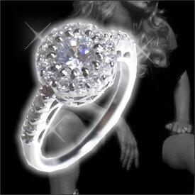 """【送料無料】【あす楽対応】【楽ギフ_包装選択】シルバー925 """"AAA""""最上質CZダイヤ(キュービックジルコニア) ブリリアントプリンセスリング 925 Sterling Silver Round Brilliant CZ Halo Ring"""