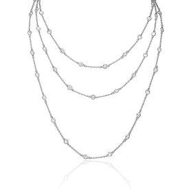 【送料無料】【あす楽対応】アメリカ産AAA高級CZダイヤ(キュービックジルコニア) ラウンドチェッカーカットベゼルセット【11ct.tw】レイヤードクチュールステーションネックレス Silver-tone 60 Inch Layered Couture Necklace by Round Checkerboard Cut Fine CZ Bezel Set
