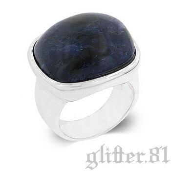 大粒 1粒石 ソーダライト カクテルリング-Cocktail Ring with Bezel Set Sodalite Stone-【9号/11号/14号/16号】【メール便可】【import-ladies】