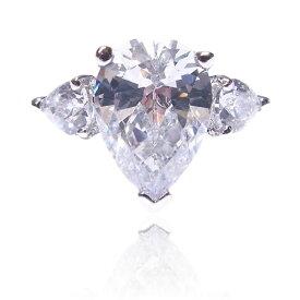 【あす楽対応】★*楽天ランキング入賞*★アメリカ産AAA高級CZダイヤ(キュービックジルコニア)【6ct.tw】3ストーン ペアシェイプブリリアント エンゲージリング【記念日】【ウエディング】 Pear Shape Engagement Ring with Sparkling CZ