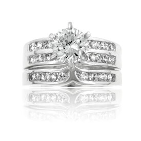 【送料無料】【あす楽対応】ラウンドブリリアント エンゲージリング 婚約指輪【3.78ct.tw】AAA高級CZダイヤ(キュービックジルコニア)【マリッジ】【2連】【セット】【ウエディング】【セレブ】【ギフト】【記念日】 Round CZ Wedding Anniversary Ring Set