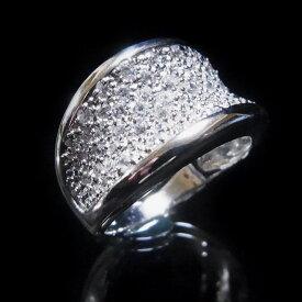 【送料無料】【あす楽対応】【楽ギフ_包装選択】シルバー925 高級CZダイヤ(キュービックジルコニア)【1.5ct.tw】 クラシック&モダン ワイドフェイス カクテルパヴェリング Sterling Silver Pave CZ Classic&Modern Wide Cocktail Ring