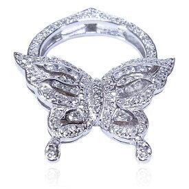 【送料無料】【あす楽対応】【楽ギフ_包装選択】シルバー925 CZダイヤ(キュービックジルコニア) モダン&クラシック バタフライモチーフ アール・デコ キラキラ蝶々のハーフエタニティカクテルパヴェリング Sterling Silver Art Deco Brilliant Butterfly Cocktail Ring