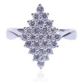 【送料無料】【あす楽対応】【楽ギフ_包装選択】シルバー925 高級CZダイヤ(キュービックジルコニア)【0.25ct.tw】クラシック&モダン ダイヤ形シェイプ(ひし形) ブライダルパヴェリング Sterling Silver Pave CZ Classic Bridal Engagement Ring