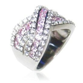 【送料無料】【あす楽対応】【楽ギフ_包装選択】シルバー925 ピンクCZ×無色透明高級CZダイヤ(キュービックジルコニア)【2.83ct.tw】2トンカラーボリュームゼブラX格子キラキラパヴェリング Sterling Silver 2-tone X Lattice Pink & Clear CZ Pave Ring