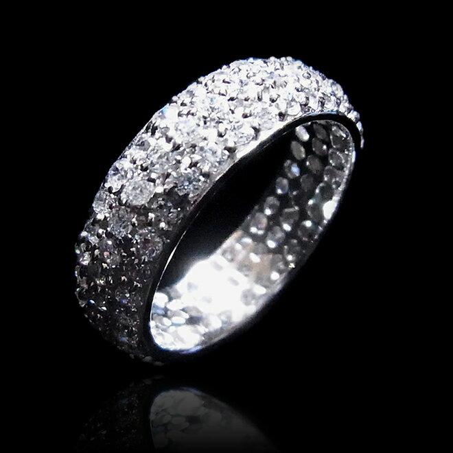 【送料無料】【あす楽対応】【楽ギフ_包装選択】★:*楽天ランキング入賞*:★シルバー925 高級CZダイヤ(キュービックジルコニア) 3層(3段) パヴェ フルエタニティリング Sterling Silver Classic 3-Row Pave CZ Eternity Wedding Band Ring