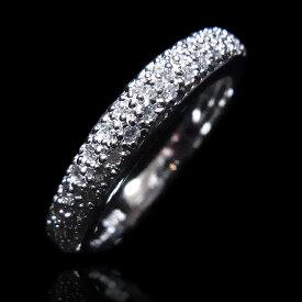【送料無料】【あす楽対応】【楽ギフ_包装選択】シルバー925 高級CZダイヤ(キュービックジルコニア)【0.28ct.tw】2層(2段)ハーフエタニティマイクロパヴェリング Sterling Silver Classic 2-Row Maicro Pave CZ Half Eternity Wedding Band Ring
