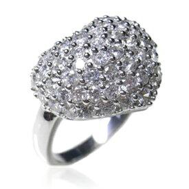 【送料無料】【あす楽対応】【ギフトラッピング無料】シルバー925 AAA高級CZダイヤ(キュービックジルコニア)【3.26ct.tw】パフハート スターチャーム付 ドーム形パヴェリング Sterling Silver Pave CZ Puffed Heart With Side Star Charm Cocktail Ring
