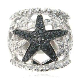 【送料無料】【あす楽対応】【楽ギフ_包装選択】シルバー925 CZダイヤ(キュービックジルコニア) ブラック&ホワイト アーティスティックスター 透かしの星柄カクテルパヴェリング 925 Silver Black&White 2-tone Micro Pave CZ Open Star Modern Ring