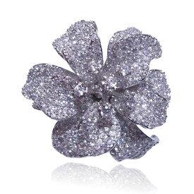 【送料無料】【あす楽対応】【楽ギフ_包装選択】シルバー925 無色透明AAA高級CZダイヤ(キュービックジルコニア)【15.08ct.tw】ハイビスカス レイヤードフラワーカクテルパヴェリング Sterling Silver CZ Micro Pave Hibiscus Layered Flower Cocktail Ring