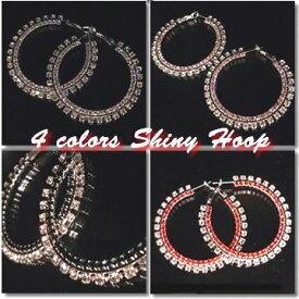 ラインストーンダブルシャイニーフープピアス【M】 Shiny Hoop Earrings with Double Rhinestone Crystals Designed
