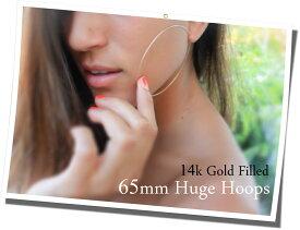 14KGF│14Kゴールドフィルド│エンドレスフープピアス φ1.2mm×65mm Gold Filled Endless Hoop Earrings【あす楽対応】【楽ギフ_包装】