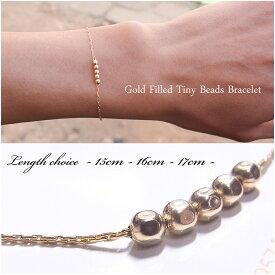glitter.81オリジナル│14Kゴールドフィルド│14KGF│シンプル ビーズ 華奢 ブレスレット│Gold Filled Tiny Beads Chain Bracelet│15cm/or/16cm/or/17cm│【あす楽対応】【楽ギフ_包装】