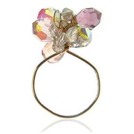数量限定★売尽し★イスラエル発・セレブ御用達ブランド《AYULA(アユラ)》ゴールドフィルド×スワロフスキークリスタル オーロラAB ゴーストリング Gold Filled & Swarovski Crystals AB Ghost Wire Ring