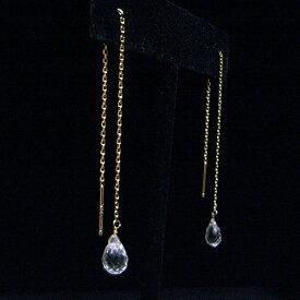 シルバー925 18金ゴールドコーティング加工済【4月誕生石】クリスタル(水晶)の一粒天然石アメリカンピアス【ロング チェーン スイング】Sterling silver 18K-gold-vermeil Crystal American Earrings【送料無料】【あす楽対応】【楽ギフ_包装】