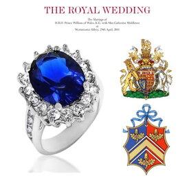 """【あす楽対応】◆Inspired Celebrity◆ケイト・ミドルトン 婚約指輪 オーバルミッドナイトサファイア×無色透明3AGrade高級CZダイヤ(キュービックジルコニア)""""5.5ct.tw""""ロイヤルウェディングエンゲージリング Princess Diana's Oval Sapphire Blue CZ Engagement Ring"""