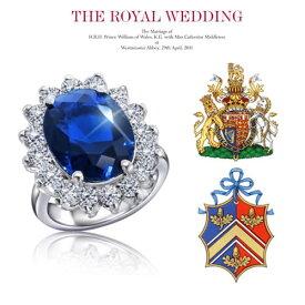 """【あす楽対応】【楽ギフ_包装】◆Inspired Celebrity◆オーバルミッドナイトサファイア×無色透明3AGrade高級CZダイヤ(キュービックジルコニア)""""5.3ct.tw""""ロイヤルウェディングエンゲージリング Kate Middleton's Oval Sapphire Blue CZ Engagement Ring"""