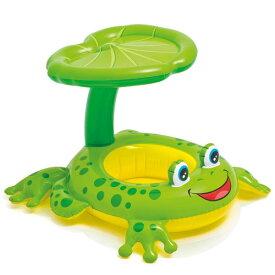 浮き輪 子供用 サンシェード付き カエル 足入れ 浮輪