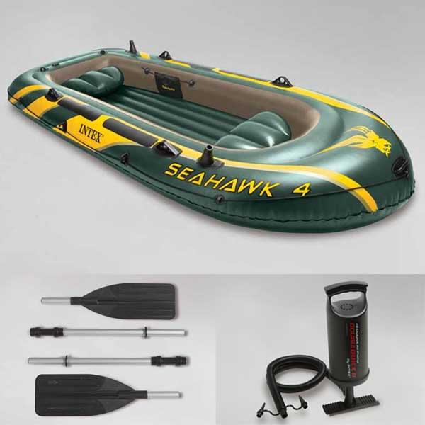 ゴムボート 4人乗り シーホーク ボート 大型 空気式ゴムボート セット intex 釣り レジャー 海 池 川