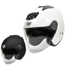【THH】 インナーサンバイザー採用 ジェットヘルメット T-386 ソリッド(パールホワイト・マットブラック) 【PSC 日本国内公道走行可能のSG規格認定】全排気量対応【THH日本総代理店】