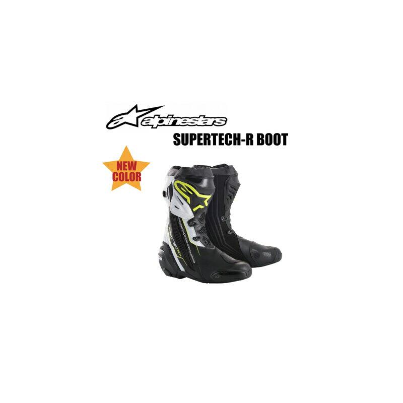 【Alpinestars(アルパインスターズ)】 SUPERTECH-R BOOT 0015 ブラック/イエローフロー/ホワイト 25.0cm〜31.5cm 158 BK/YLF/WH スーパーテックR ブーツ バイクブーツ レーシングブーツ ハイテクマイクロ生地使用 軽量 【【新色!】スーパーテックR ブーツ【ブラック/イ