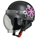 LEAD リード工業 CROSS CR-760 ハーフヘルメット0SS-GCCR760-KJ(ブラック/フラワー) サイズ調整スポンジ付き