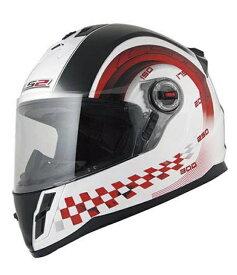 【LS2(エルエスツー)】 MFJ公認取得 子供用 小型フルェイスヘルメット F-KIDS ホワイトレッド キッズサイズ M/L 11912504-6