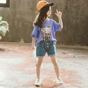 おまけ付きエコバック子供服女の子半袖Tシャツデニムパンツ短パンキッズクール快適かわいい上下セット