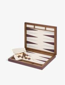GIO BAGNARA パルマ ウォルナット アンド レザー バックギャモン セット 44cm Palma walnut and leather backgammon set 44cm