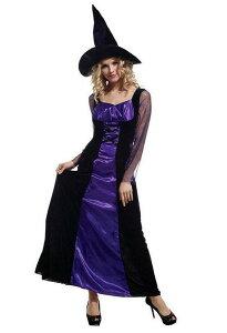魔女 ロングドレス コスプレ ハロウィン 衣装 大人 紫 ウイッチ マジョ まじょ (魔女 パープル) Halloween おうち時間 コスプレ衣装 余興 女性用 大人用 パーティーグッズ