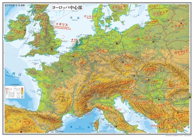 小判 ヨーロッパ中心部地図 ポスター