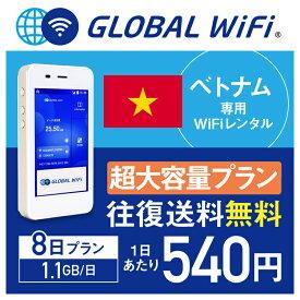 【レンタル】ベトナム wifi レンタル 超大容量 8日 プラン 1日 1.1GB 4G LTE 海外 WiFi ルーター pocket wifi wi-fi ポケットwifi ワイファイ globalwifi グローバルwifi 〈◆_ベトナム 4G(高速) 1.1GB/日 超大容量_rob#〉