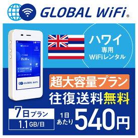 【レンタル】ハワイ wifi レンタル 超大容量 7日 プラン 1日 1.1GB 4G LTE 海外 WiFi ルーター pocket wifi wi-fi ポケットwifi ワイファイ globalwifi グローバルwifi 〈◆_ハワイ 4G(高速) 1.1GB/日 超大容量_rob#〉