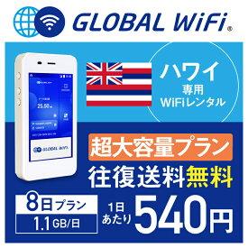 【レンタル】ハワイ wifi レンタル 超大容量 8日 プラン 1日 1.1GB 4G LTE 海外 WiFi ルーター pocket wifi wi-fi ポケットwifi ワイファイ globalwifi グローバルwifi 〈◆_ハワイ 4G(高速) 1.1GB/日 超大容量_rob#〉